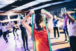 resistance band workout group