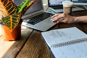 laptop at coffee shop